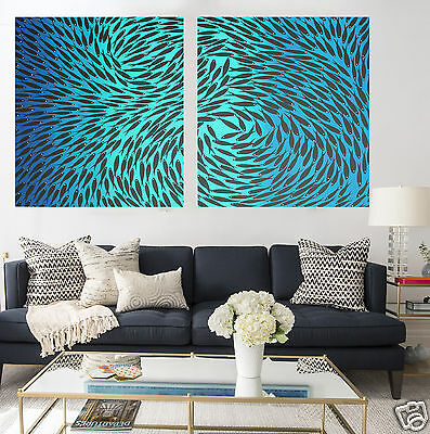 Diptych Contemporary Fish Painting Aboriginal Art  Ocean Australia Jane Crawford