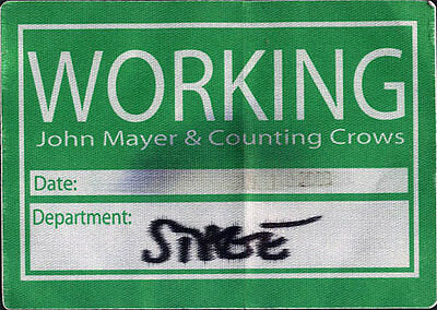 John Mayer / Counting Crows ORIGINAL Backstage Pass Crew used  7/14/2003 Concord