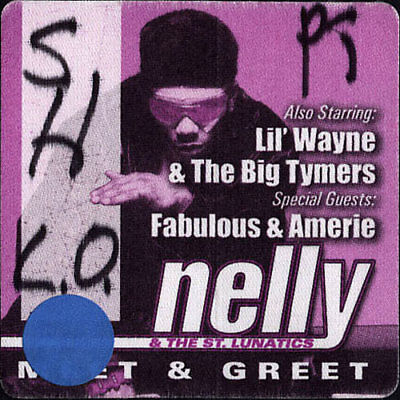 Nelly and the St. Lunatics ORIGINAL Crew Used Backstage Pass w/ Lil' Wayne