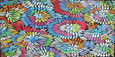 Bush Petals Oil Canvas art painting Aboriginal 160cm by 60cm  Jane Crawford