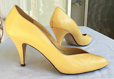 SEXY ViNTAGE 80's Pin-Up Yellow Leather Heels Stilettos Toe Cleavage Size 8