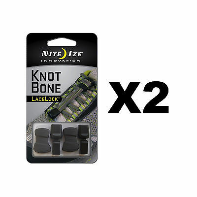 Nite Ize KnotBone LaceLock Knot-Free Shoe Lace Kit w/Lace Caps (2-Pack of 2)
