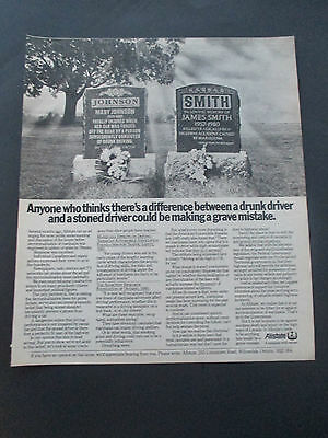 """Vintage 1981 Allstate Insurance Stoned Driver Tombstone Print Ad, 12"""" X 10.25"""""""