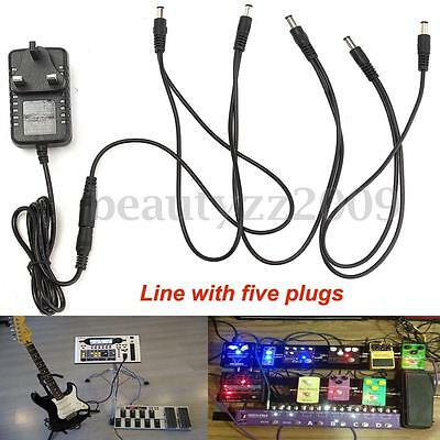9V Guitar Effect Pedal Power Supply Adapter & 5 Way Daisy Chain For Boss Psa-240