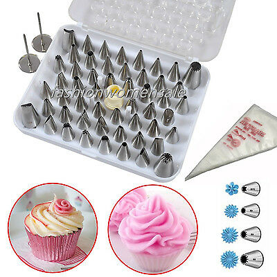 Set 24 52 Icing Cake Pastry Cream Piping Nozzles Tips Decorating Stainless SteF4