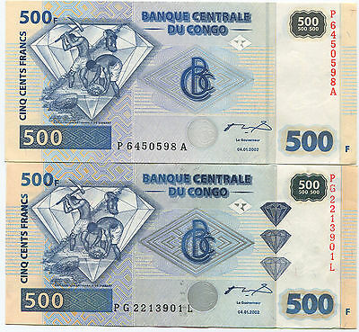 Congo 500fr 2002 with and without brilliants UNC rare