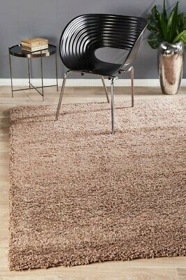 CASEY DARK BROWN SHAGGY RUG Large Cream Shag Carpet Floor Mat FREE DELIVERY*