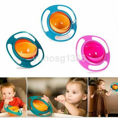 Baby Solid Feeding Bowl Dishes Boys Girls Spill-Proof Universal Rotate Bowl UK