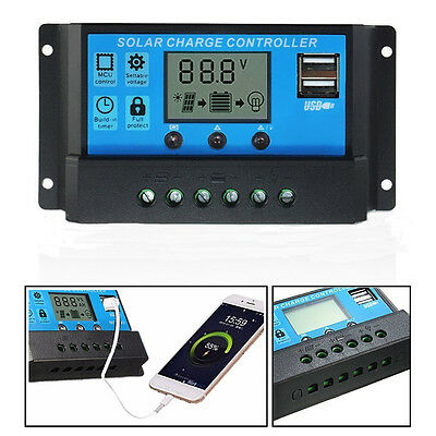 10A/20A/30A Solar Panels Battery Regulator Charge Controller 12/24V Auto USB New