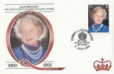 (94807) FDC Turks and Caicos Queen Mother 95th Birthday 8 August 1995