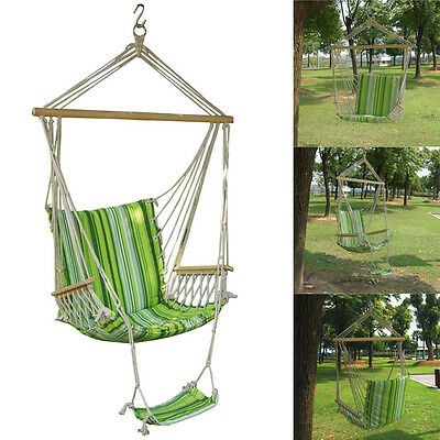 Garden Patio Porch Hammock Hanging Rope Swing Chair Seat Bench Swinging Cushion