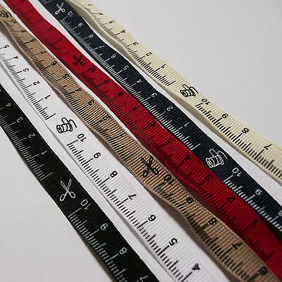 2 metres of Tape Measure Grosgrain Ribbon 10mm wide - 10cm ruler design & icons