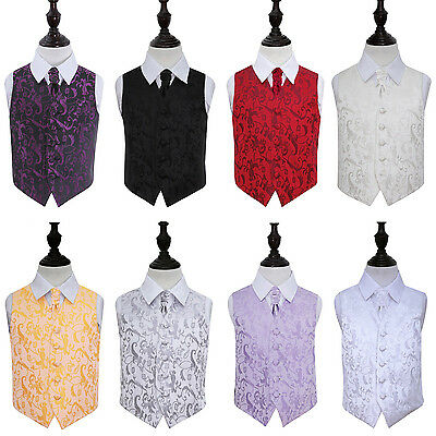 DQT New Jacquard Passion Floral Page Boy Vest Wedding Boy's Waistcoat & Cravat