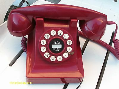 Retro GPO Push Button Dial Telephone Vintage Style Phone  - Red