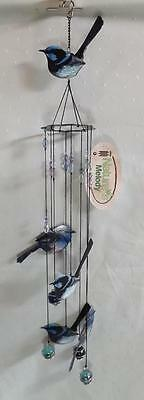 Gorgeous* Blue Wren Bird Wind Chime* 5  Blue Birds * New *tail Up*