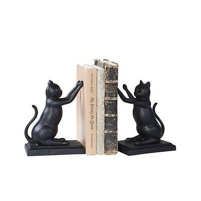 Cast Iron Metal Cat Kitten Bookends Office Study Bookcase Book Ends Black