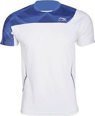 Li-Ning Mens T Tee Shirt Extra Large XL White Blue Round Neck Badminton Tennis