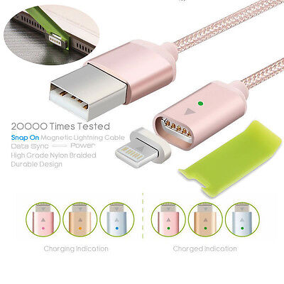 Braided Magnetic Lightning USB Charger Charging Cable For Apple iPhone Samsung