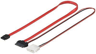 S-ATA SlimLine Adapter Kabel SATA 2in1 Datensignal Slim Line + Stromadapter 0,3m