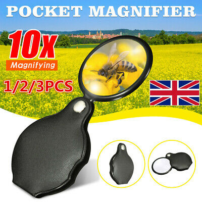 Folding 10X Magnifier Magnifying Glass 45mm Handheld Jewelry Glass Loupe Reading
