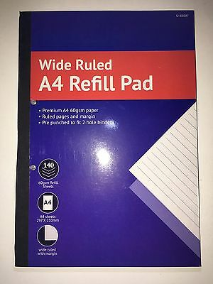 A4 Refill Pre punched Wide Ruled Lined Pads Premium A4 60 GSM 140 Sheets Per Pad
