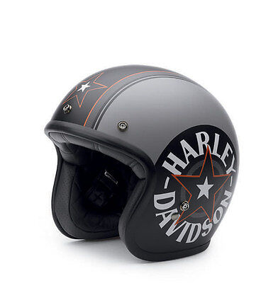 Harley Davidson Bell Grey Star Retro Helmet Grey Medium