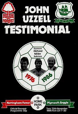 1986/87 Plymouth Argyle v Nottingham Forest, Uzzell Testimonial - PERFECT