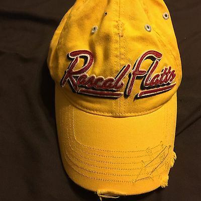 Rascal Flatts Yellow Hat Cap Distressed One Size Adjustable Yellow One Size