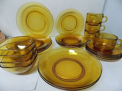 Vereco Glass Amber Glass Dinnerware Set 22 pc Set France & VERECO GLASS Amber Glass Dinnerware Set 22 pc Set France - $79.99 ...