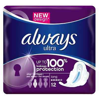 Always Ultra Long Plus Sanitary Towels with wings  ( 12 pads per Pack )