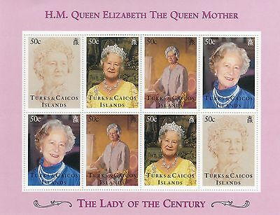 (70799) Turks & Caicos MNH Queen Mother Lady of Century MS unmounted mint