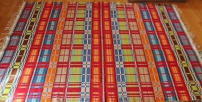 "VTG Southwest Mexican Indian Rug Plaid Bright Colors 94"" x 67"""