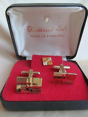 Vintage Diamond Cut Cufflinks & Tie Pin Set Made In England Gold Tone Boxed
