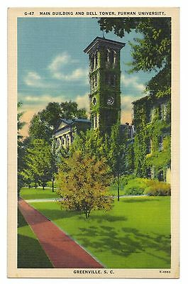 Main Building and Bell Tower Furman University Greenville S C Postcard 1930-45