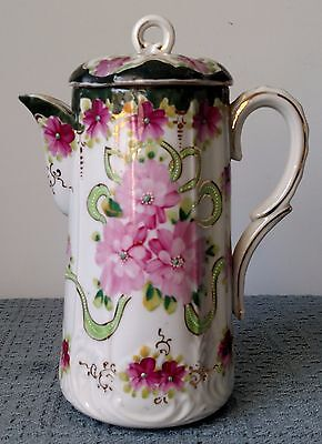 Antique ~ Hand Painted Porcelain COFFEE POT / CHOCOLATE POT with LID ~ White