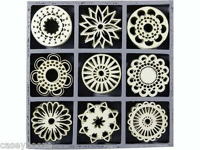 45 Wooden Shapes - Fantasy Circle Shapes - Flowers - 1110 - New Out