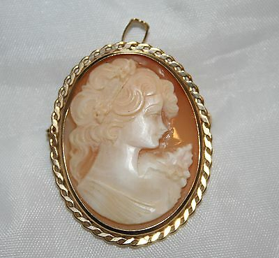 9 Carat Yellow Gold Oval Cameo Brooch Pin Pendant 6.5g