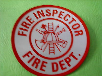 "Fire Inspector  3"" Circle  White & Red Reflective Decal Sticker"