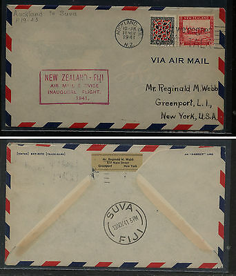 New  Zealand  to Fiji  first flight cover  1941       MS0803