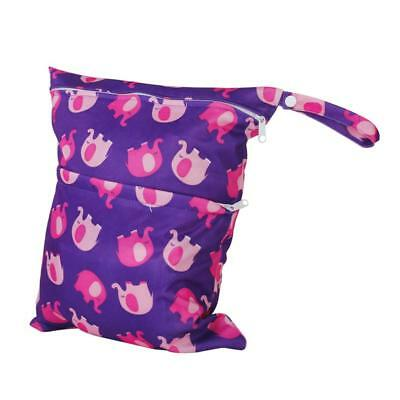Reusable Zipper Baby Cloth Diaper Nappy Dry Bag Swimmer Tote Purple Elephant