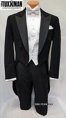 46 L Fulldress Tailcoat Formal Mens Black Gatsby Tuxedo MARDI GRAS Ball TUXXMAN