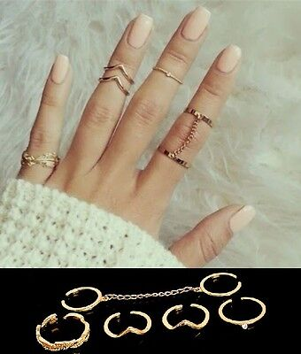 6pc ADJUSTABLE Gold / Silver Stackable Mid Midi Finger Ring Set Size Small RG1