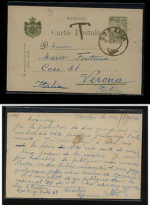 Romania  postal  card  to  Italy  posage due marking   1920      KL0115