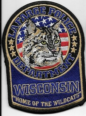 Lafarge  Wis Wi Police Dept Home Of The Wild Cat Bob Cat Flag Lpd Pd