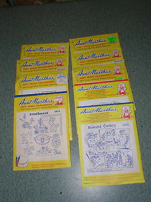 Lot of 9 VINTAGE Assorted Aunt Martha's Hot Iron Transfers