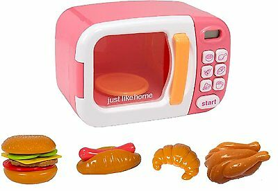 NEW Just Like Home Pink Microwave Kids Appliance Kitchen Set Play Food 10pc NIB