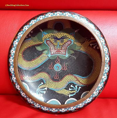 Great DaMing Marked Chinese Republic Cloisonne Brush Washer Dish with Dragons