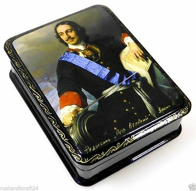 """""""Peter der Große """" Russische Lackmalerei Lackdose Russian lacquer box Fedoskino"""