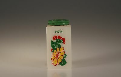 Vintage Tipp City Glass Yellow Daisy With Red Geranium Sugar Range Shaker c.1939