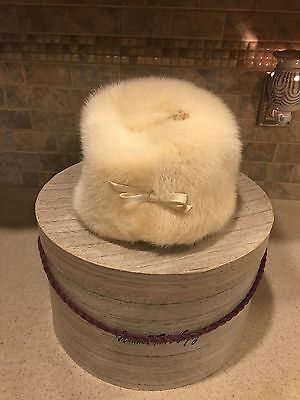 Vintage Marshall Fields Hat Box And Fur Hat From Amrose Of New York